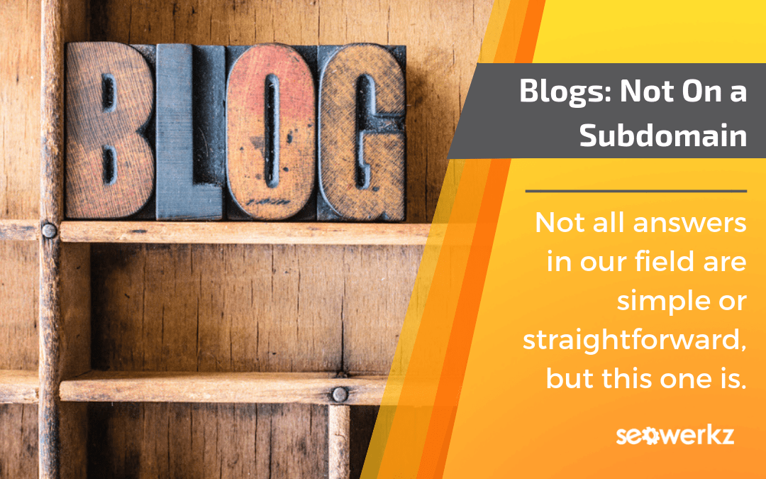 should my blog be on a subdomain?